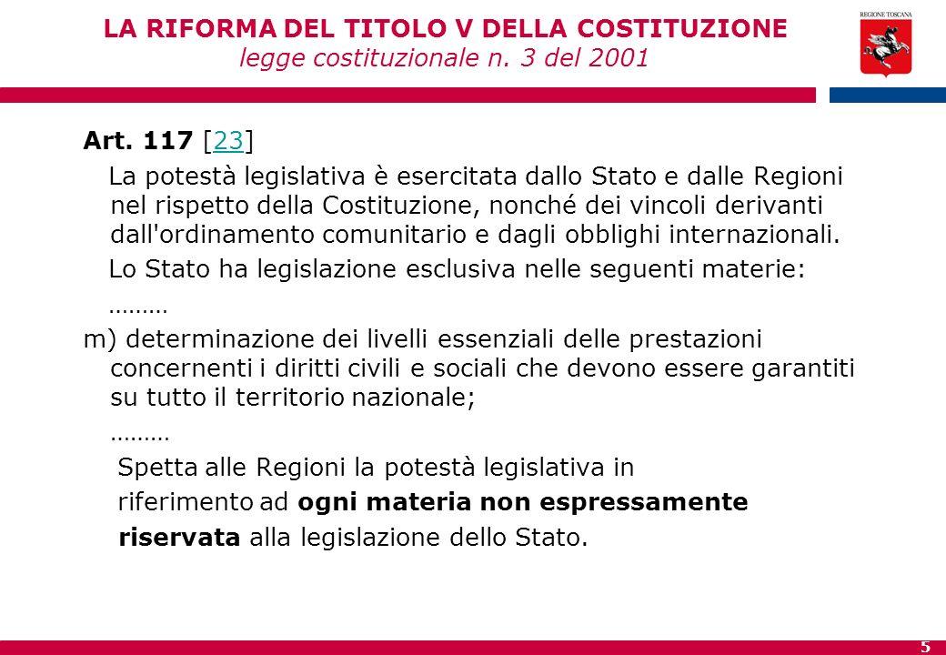 5 LA RIFORMA DEL TITOLO V DELLA COSTITUZIONE legge costituzionale n. 3 del 2001 Art. 117 [23]23 La potestà legislativa è esercitata dallo Stato e dall