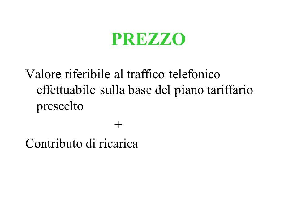 PREZZO Valore riferibile al traffico telefonico effettuabile sulla base del piano tariffario prescelto + Contributo di ricarica