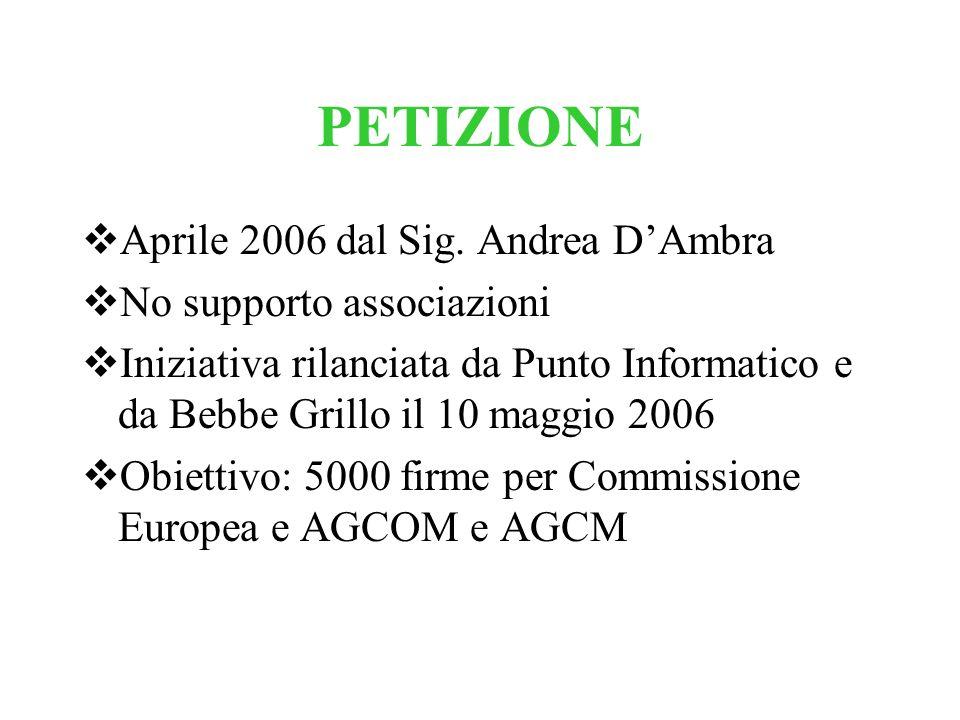 PETIZIONE Aprile 2006 dal Sig. Andrea DAmbra No supporto associazioni Iniziativa rilanciata da Punto Informatico e da Bebbe Grillo il 10 maggio 2006 O