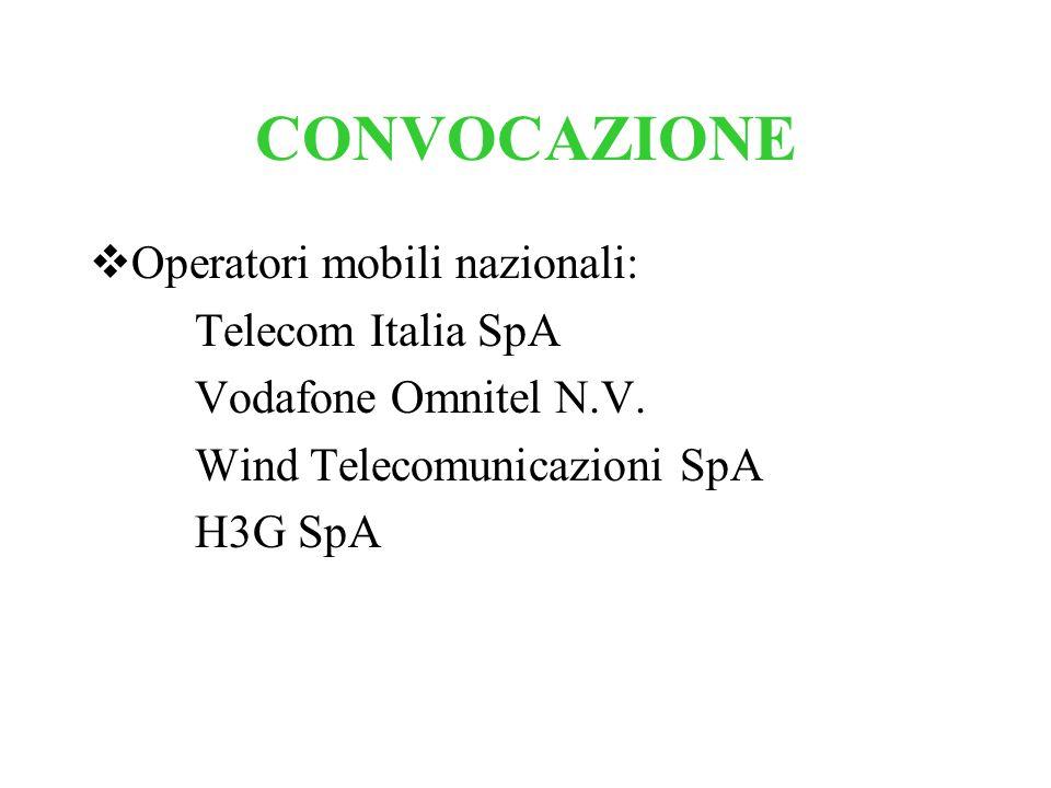 CONVOCAZIONE Operatori mobili nazionali: Telecom Italia SpA Vodafone Omnitel N.V. Wind Telecomunicazioni SpA H3G SpA