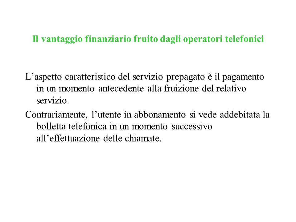 Il vantaggio finanziario fruito dagli operatori telefonici Laspetto caratteristico del servizio prepagato è il pagamento in un momento antecedente all