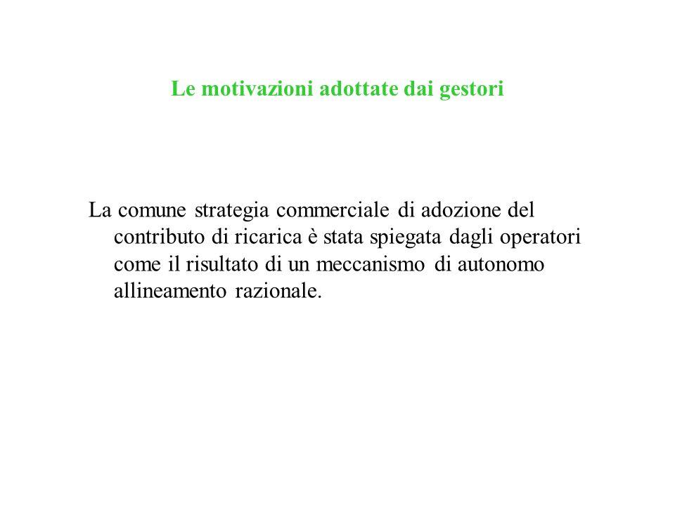 Le motivazioni adottate dai gestori La comune strategia commerciale di adozione del contributo di ricarica è stata spiegata dagli operatori come il ri