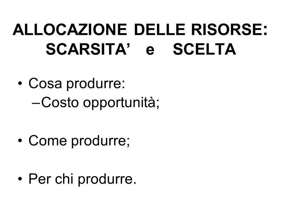 ALLOCAZIONE DELLE RISORSE : SCARSITA e SCELTA Cosa produrre: –Costo opportunità; Come produrre; Per chi produrre.