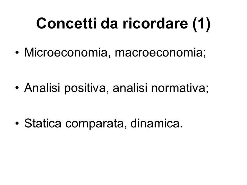 Concetti da ricordare (1) Microeconomia, macroeconomia; Analisi positiva, analisi normativa; Statica comparata, dinamica.