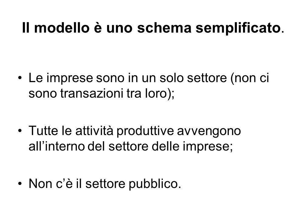 Il modello è uno schema semplificato. Le imprese sono in un solo settore (non ci sono transazioni tra loro); Tutte le attività produttive avvengono al