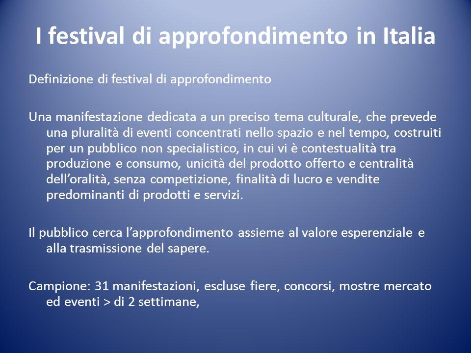 I festival di approfondimento in Italia Definizione di festival di approfondimento Una manifestazione dedicata a un preciso tema culturale, che preved