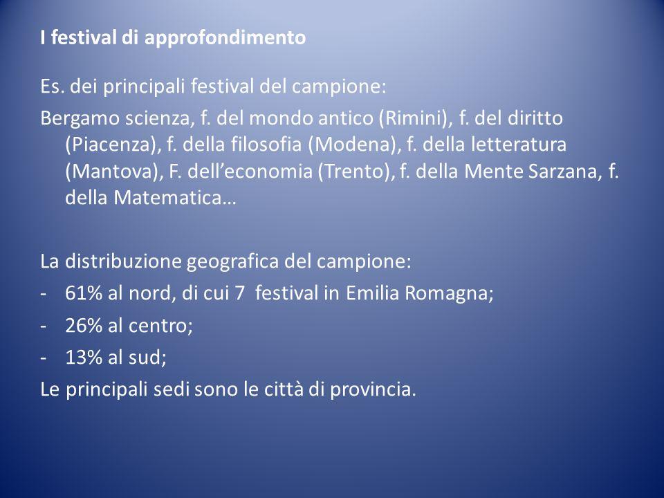 I festival di approfondimento Es. dei principali festival del campione: Bergamo scienza, f. del mondo antico (Rimini), f. del diritto (Piacenza), f. d