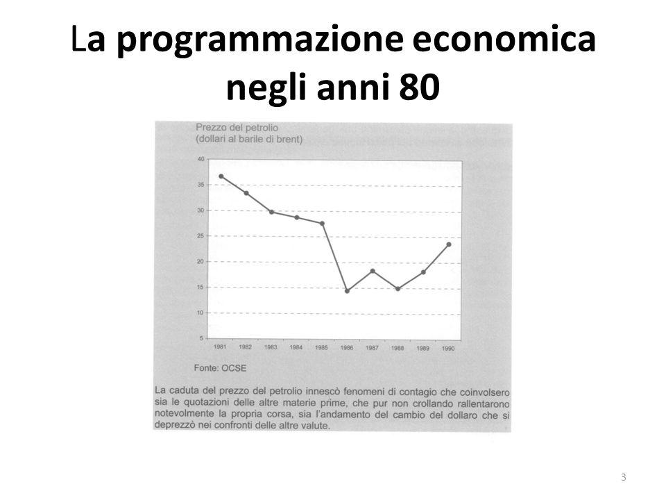La programmazione economica negli anni 80 In Italia solamente nella seconda metà degli anni 90 saranno attivate politiche neoliberiste: le privatizzazioni per rispettare i parametri di ingresso nella moneta unica.
