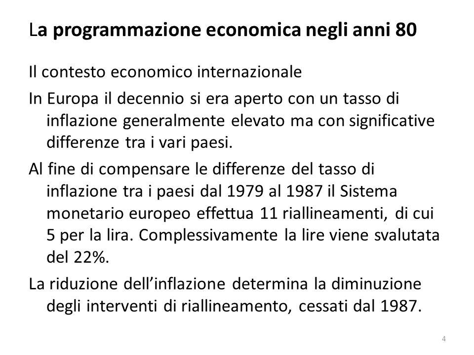 La programmazione economica negli anni 80 Dopo un primo quadriennio di sviluppo ridotto leconomia italiana, trainata a differenza del passato dalla domanda interna, piuttosto che da quella estera, conosce una fase di espansione tra le più lunghe, anche se non tra le più intense del dopoguerra: -Tasso di crescita del 1,4% nel periodo 1981-84; -Tasso di crescita del 2,9% nel periodo 1985-90; Che colloca lItalia tra le prime 5 economie industrializzate: USA, Giappone, Germania e Francia.
