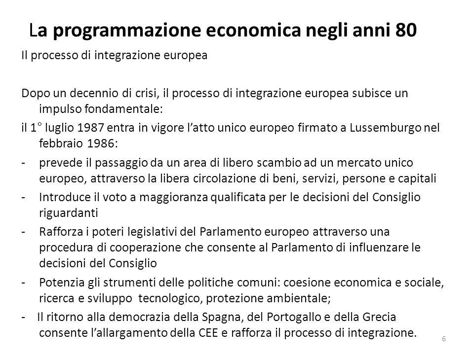La programmazione economica negli anni 80 La situazione politica nellest Europa Alla fine degli anni 80 entra in crisi il sistema politico ed economico dellunione Sovietica e dei paesi dellEuropa orientale.