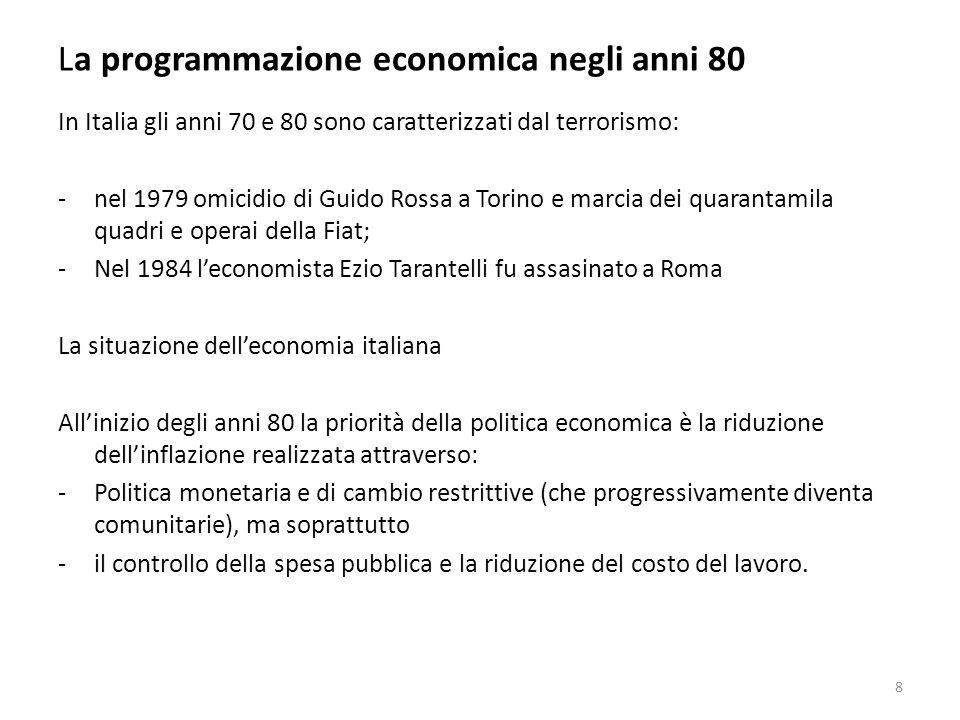 La programmazione economica negli anni 80 La riforma dellintervento nel Mezzogiorno 39