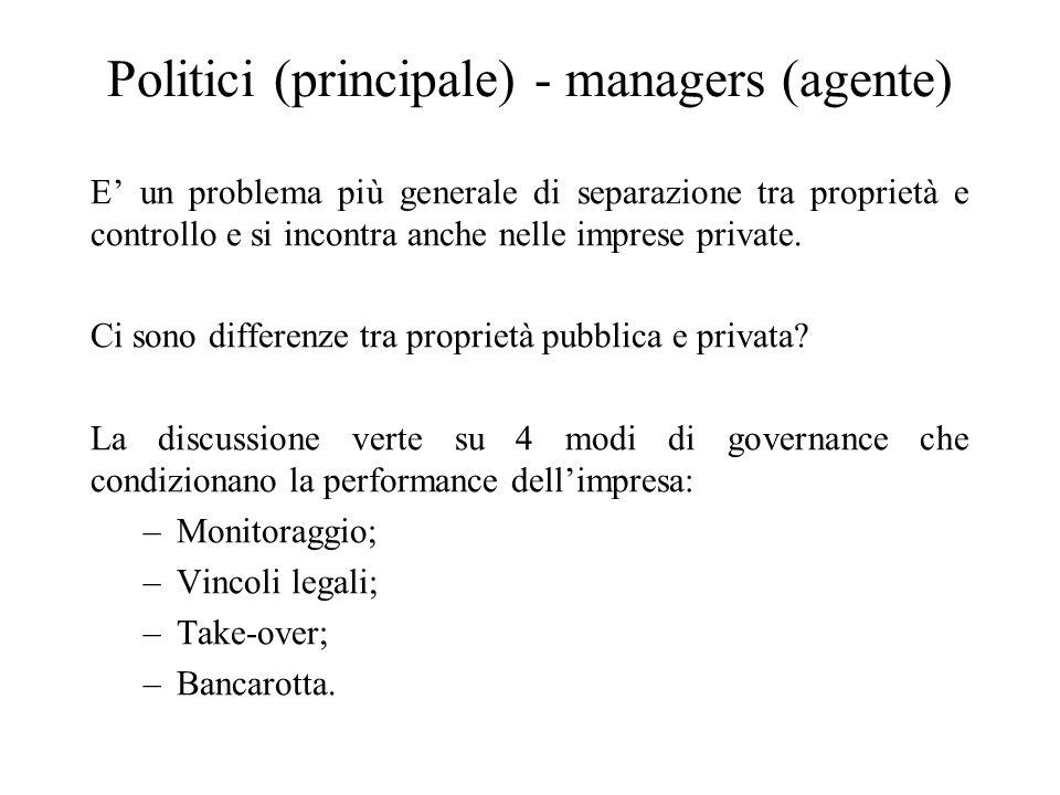 Politici (principale) - managers (agente) E un problema più generale di separazione tra proprietà e controllo e si incontra anche nelle imprese private.