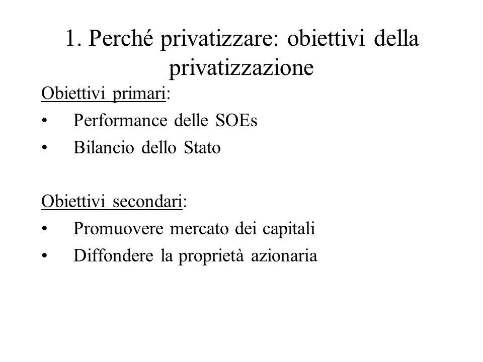 1. Perché privatizzare: obiettivi della privatizzazione Obiettivi primari: Performance delle SOEs Bilancio dello Stato Obiettivi secondari: Promuovere