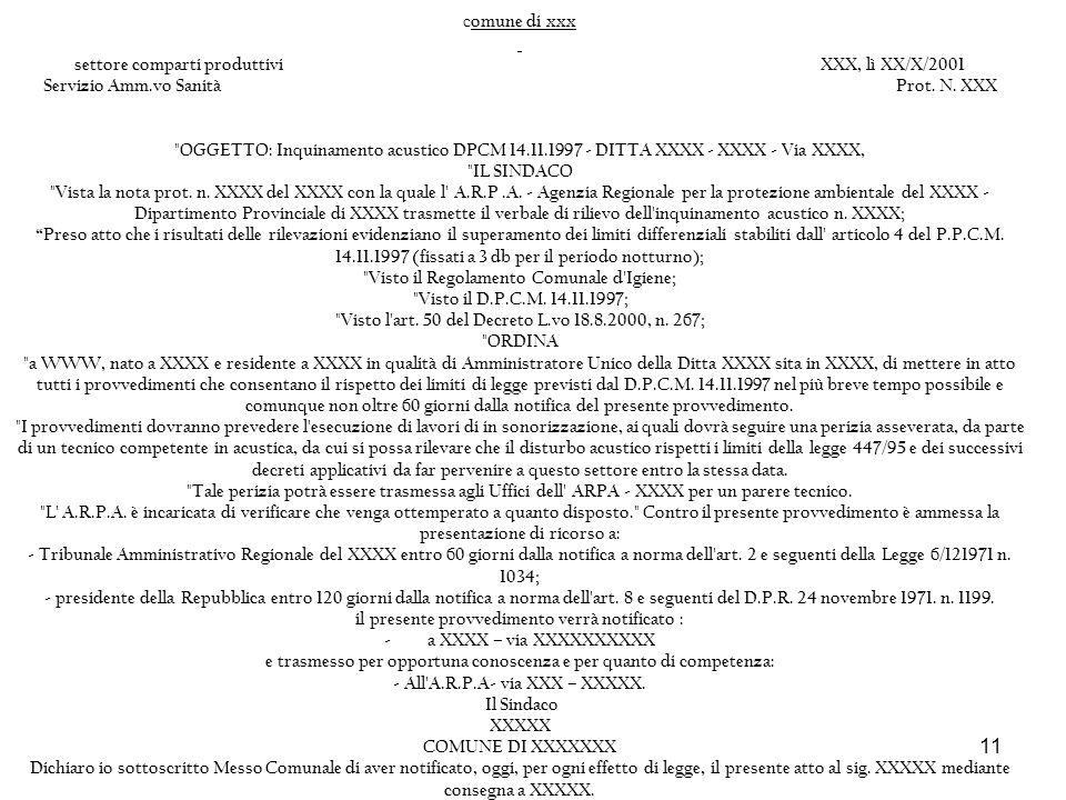 11 c omune di xxx settore comparti produttiviXXX, lì XX/X/2001 Servizio Amm.vo SanitàProt. N. XXX