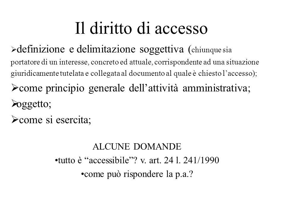 Il diritto di accesso definizione e delimitazione soggettiva ( chiunque sia portatore di un interesse, concreto ed attuale, corrispondente ad una situ