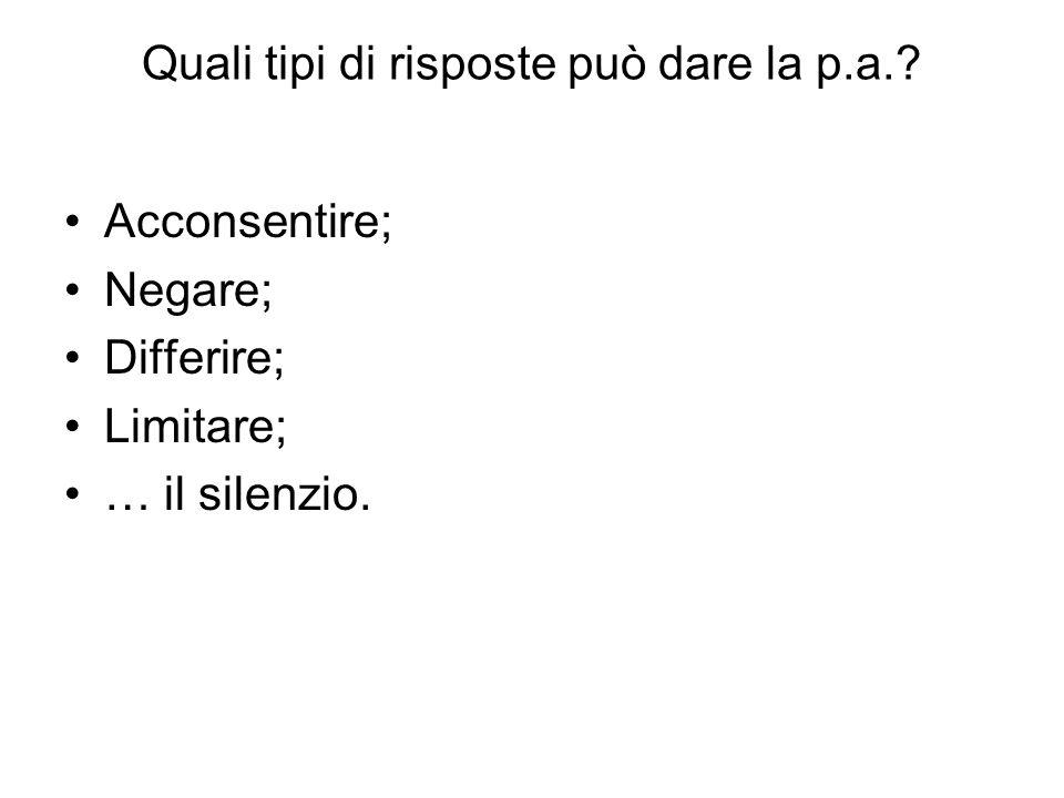 Quali tipi di risposte può dare la p.a.? Acconsentire; Negare; Differire; Limitare; … il silenzio.