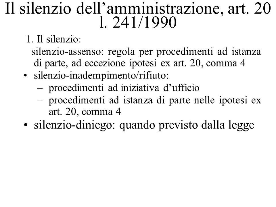Il silenzio dellamministrazione, art. 20 l. 241/1990 1. Il silenzio: silenzio-assenso: regola per procedimenti ad istanza di parte, ad eccezione ipote