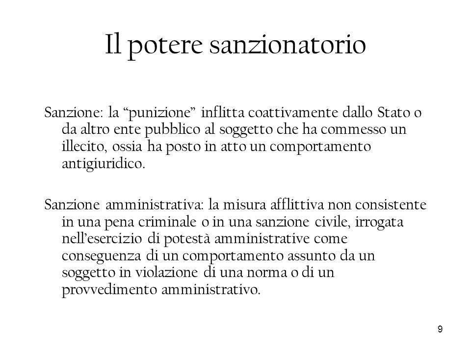 9 Il potere sanzionatorio Sanzione: la punizione inflitta coattivamente dallo Stato o da altro ente pubblico al soggetto che ha commesso un illecito,