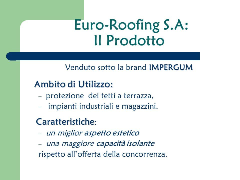 Euro-Roofing S.A: Il Prodotto IMPERGUM Venduto sotto la brand IMPERGUM Ambito di Utilizzo: – protezione dei tetti a terrazza, – impianti industriali e magazzini.