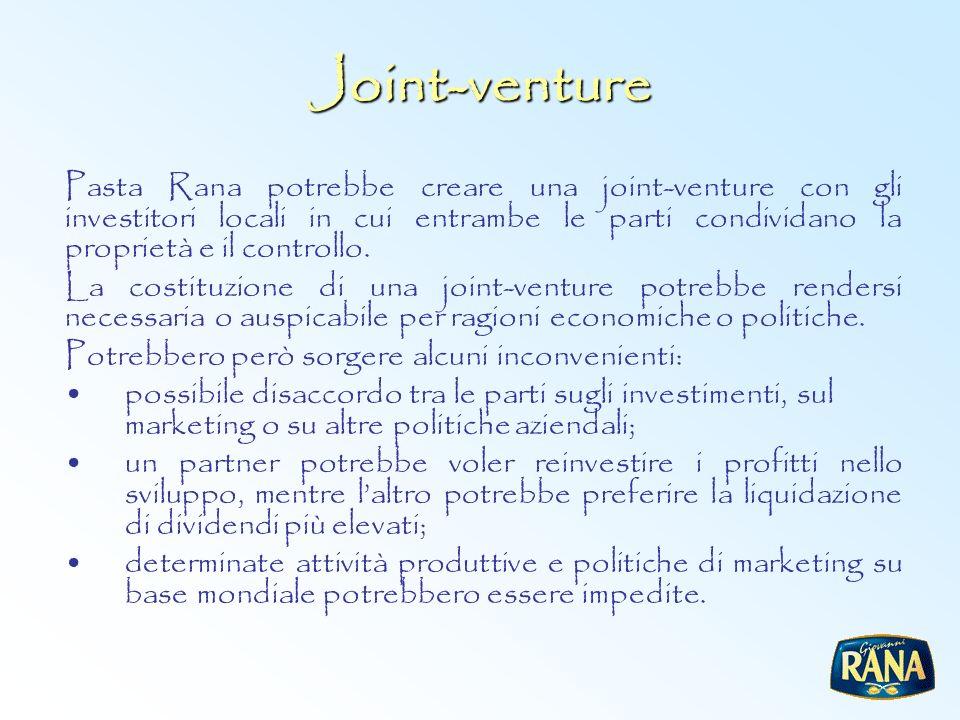 Joint-venture Pasta Rana potrebbe creare una joint-venture con gli investitori locali in cui entrambe le parti condividano la proprietà e il controllo