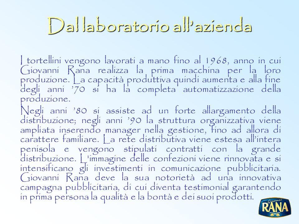 Dal laboratorio allazienda I tortellini vengono lavorati a mano fino al 1968, anno in cui Giovanni Rana realizza la prima macchina per la loro produzi