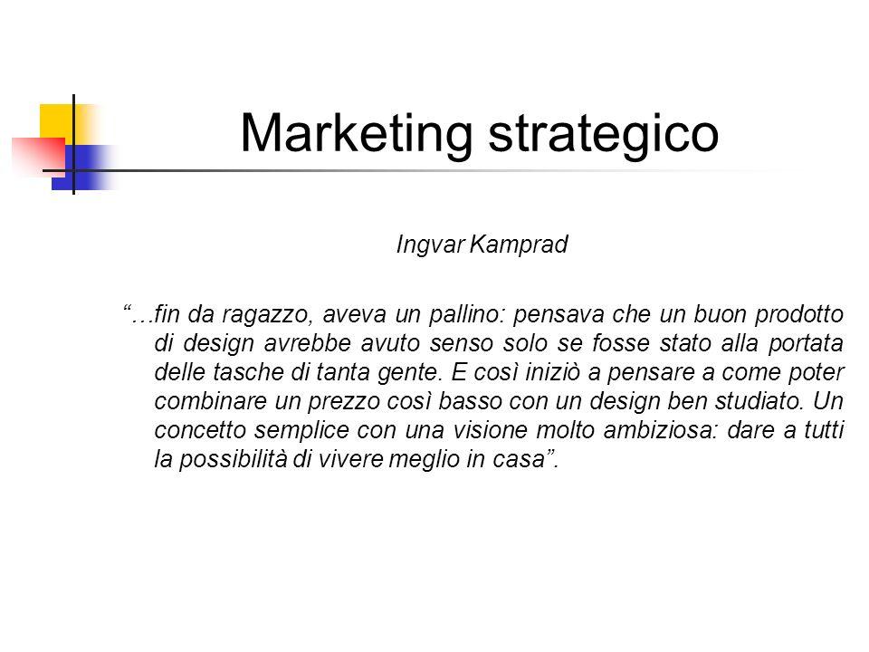 Marketing strategico Ingvar Kamprad …fin da ragazzo, aveva un pallino: pensava che un buon prodotto di design avrebbe avuto senso solo se fosse stato