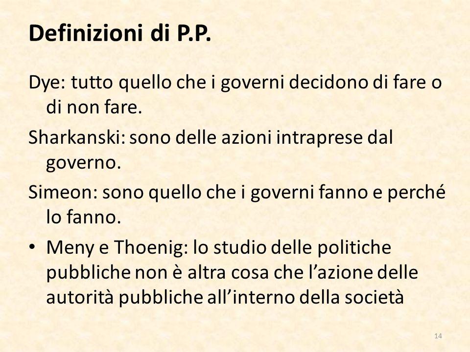 Definizioni di P.P. Dye: tutto quello che i governi decidono di fare o di non fare.