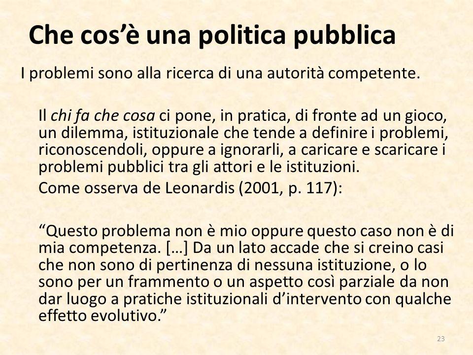 Che cosè una politica pubblica I problemi sono alla ricerca di una autorità competente.