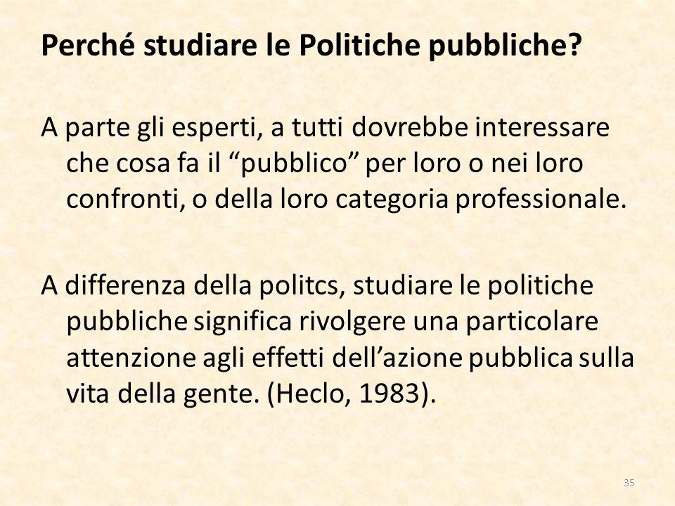 Perché studiare le Politiche pubbliche.