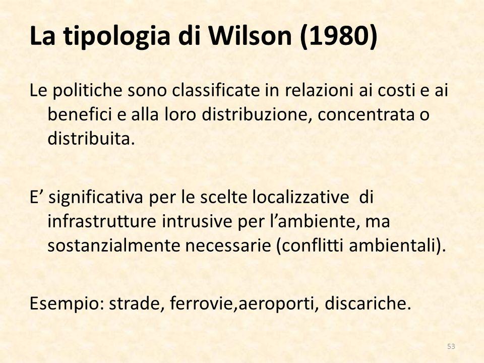 La tipologia di Wilson (1980) Le politiche sono classificate in relazioni ai costi e ai benefici e alla loro distribuzione, concentrata o distribuita.