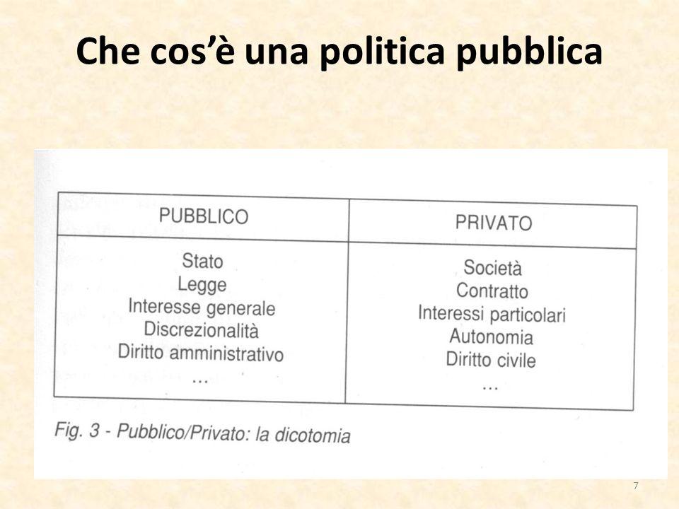 Che cosa studia lanalisi delle politiche pubbliche - conoscere la realtà, nel senso di rilevare in modo attendibile e completo le esigenze sociali ed economiche cui si intende dare risposta (ivi quelle non rappresentate da corrispondenti gruppi di interesse); - considerare una gamma differenziata di opzioni di intervento; - consultare ampiamente i soggetti interessati a vario titolo alla politica pubblica, ai benefici che essa dovrebbe generare, ad eventuali costi diretti ed indiretti o collaterali che sa essa deriverebbero (includendo i gruppi più deboli e meno organizzati, i punti di vista di coloro che potrebbero essere toccati dallintervento, ma non possono aver voce, come le generazioni future); 28