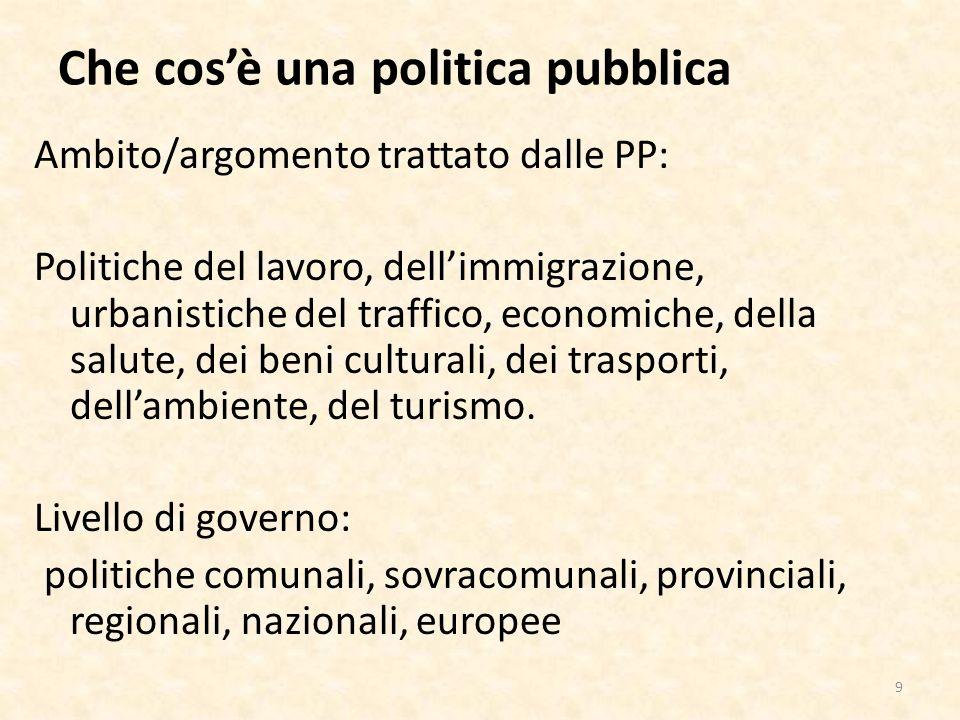 Che cosè una politica pubblica Altre distinzioni Portata delle PP: a chi si rivolgono.