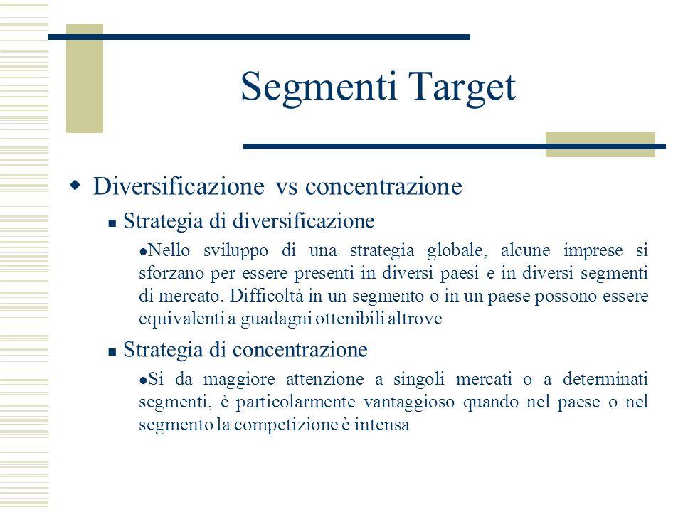 Segmenti Target Diversificazione vs concentrazione Strategia di diversificazione Nello sviluppo di una strategia globale, alcune imprese si sforzano p