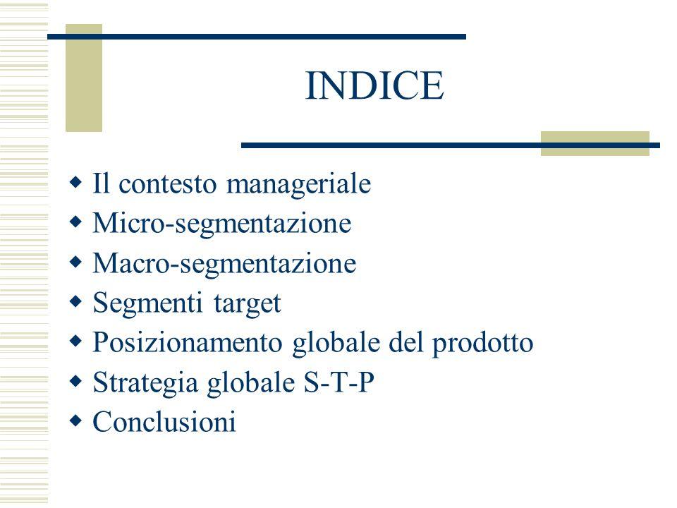 INDICE Il contesto manageriale Micro-segmentazione Macro-segmentazione Segmenti target Posizionamento globale del prodotto Strategia globale S-T-P Con