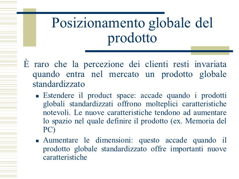 Posizionamento globale del prodotto È raro che la percezione dei clienti resti invariata quando entra nel mercato un prodotto globale standardizzato E