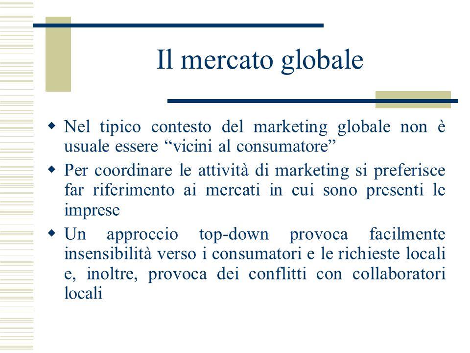 Il mercato globale Nel tipico contesto del marketing globale non è usuale essere vicini al consumatore Per coordinare le attività di marketing si pref