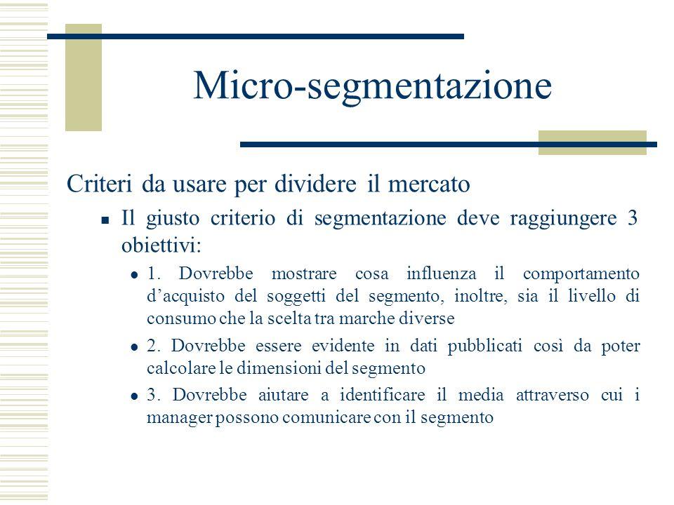 Micro-segmentazione Criteri da usare per dividere il mercato Il giusto criterio di segmentazione deve raggiungere 3 obiettivi: 1. Dovrebbe mostrare co