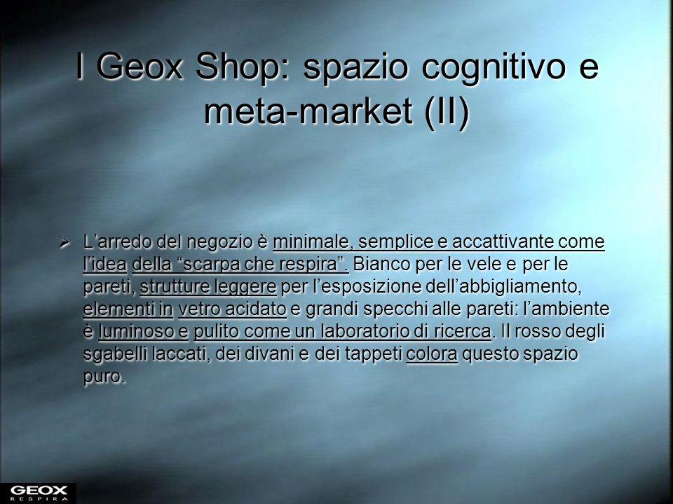 I Geox Shop: spazio cognitivo e meta-market (II) Larredo del negozio è minimale, semplice e accattivante come lidea della scarpa che respira. Bianco p