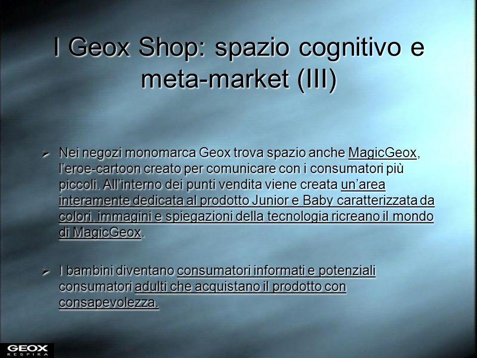 I Geox Shop: spazio cognitivo e meta-market (III) Nei negozi monomarca Geox trova spazio anche MagicGeox, leroe-cartoon creato per comunicare con i co