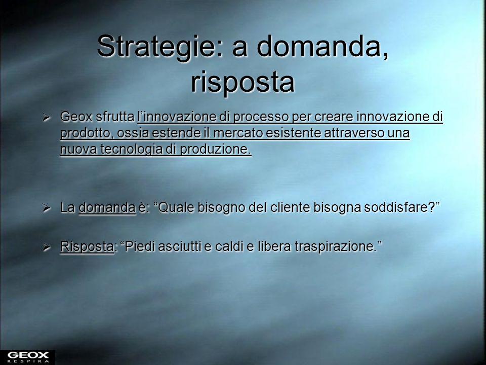 Strategie: a domanda, risposta Geox sfrutta linnovazione di processo per creare innovazione di prodotto, ossia estende il mercato esistente attraverso