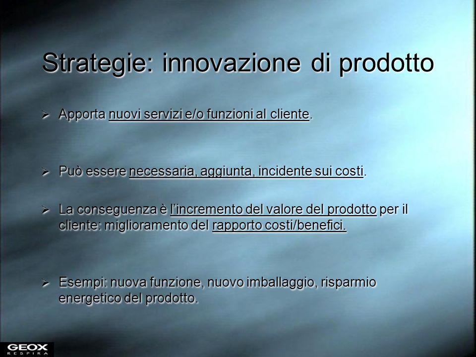 Strategie: innovazione di prodotto Apporta nuovi servizi e/o funzioni al cliente. Può essere necessaria, aggiunta, incidente sui costi. La conseguenza