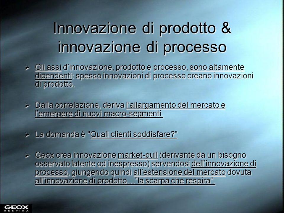 Innovazione di prodotto & innovazione di processo Gli assi dinnovazione, prodotto e processo, sono altamente dipendenti: spesso innovazioni di process