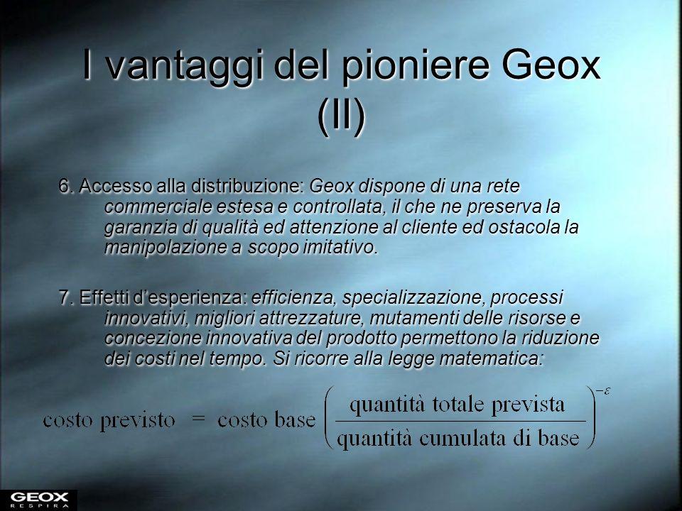 I vantaggi del pioniere Geox (II) 6. Accesso alla distribuzione: Geox dispone di una rete commerciale estesa e controllata, il che ne preserva la gara