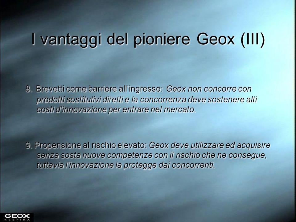 I vantaggi del pioniere Geox (III) 8. Brevetti come barriere allingresso: Geox non concorre con prodotti sostitutivi diretti e la concorrenza deve sos