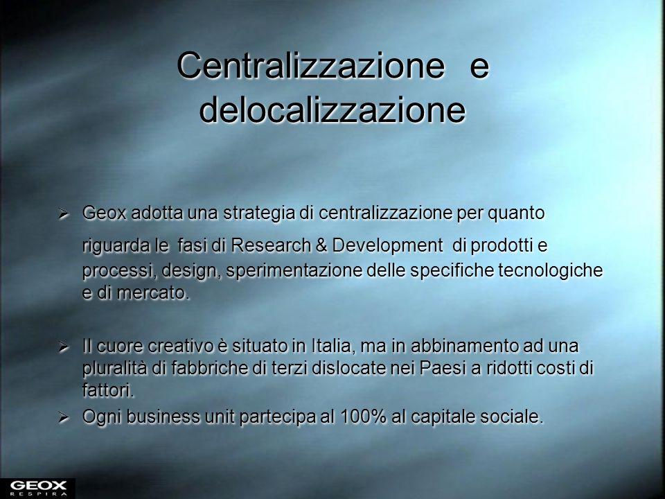 Centralizzazione e delocalizzazione Geox adotta una strategia di centralizzazione per quanto riguarda le fasi di Research & Development di prodotti e