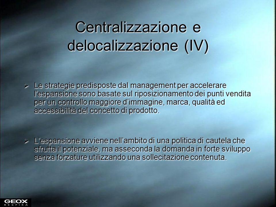 Centralizzazione e delocalizzazione (IV) Le strategie predisposte dal management per accelerare lespansione sono basate sul riposizionamento dei punti
