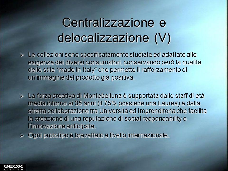 Centralizzazione e delocalizzazione (V) Le collezioni sono specificatamente studiate ed adattate alle esigenze dei diversi consumatori, conservando pe
