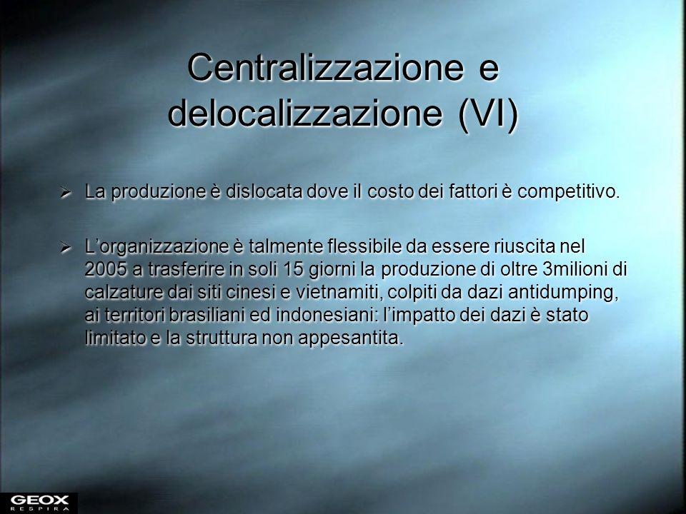 Centralizzazione e delocalizzazione (VI) La produzione è dislocata dove il costo dei fattori è competitivo. Lorganizzazione è talmente flessibile da e