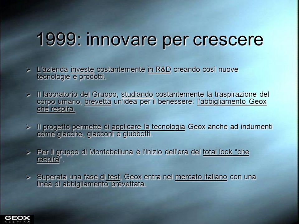 2000: crescere per competere Dopo aver consolidato i primi successi in Italia, Geox inizia la conquista dei mercati internazionali.