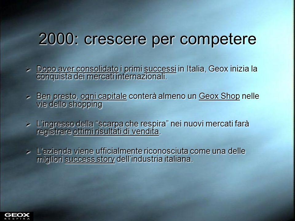 2000: crescere per competere Dopo aver consolidato i primi successi in Italia, Geox inizia la conquista dei mercati internazionali. Ben presto, ogni c